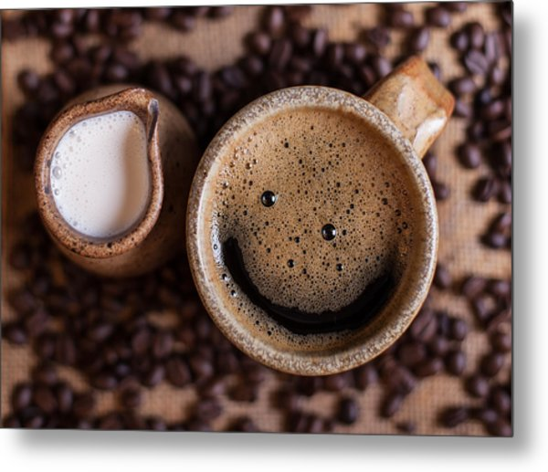 Coffee With A Smile Metal Print