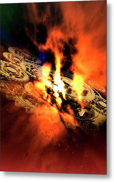 Cogs And Flames Metal Print by Victor Habbick Visions/science Photo Library