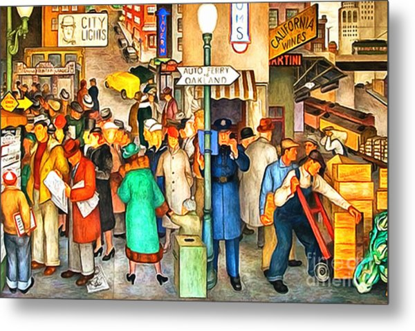 Metal Print featuring the painting San Francisco Coit Tower Mural 20141005 V1 by Wingsdomain Art and Photography
