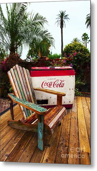 Vintage Coke Machine With Adirondack Chair Metal Print