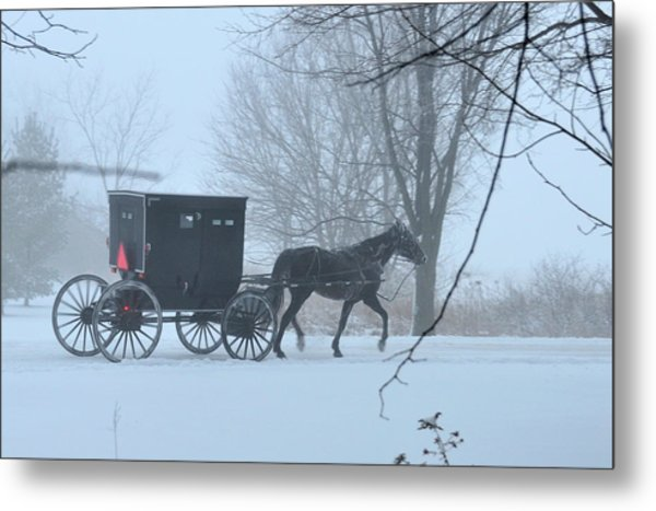 Cold Amish Morning Metal Print