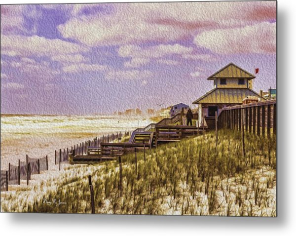 Waterfront - Coastal - Cold And Windy At The Beach Metal Print by Barry Jones