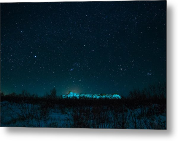 Cold Night On The Saddle Horn Metal Print