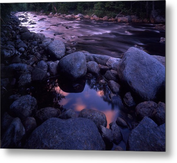 Cold River Sunset Metal Print