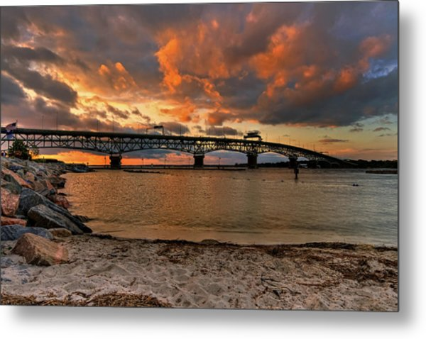 Coleman Bridge At Sunset Metal Print