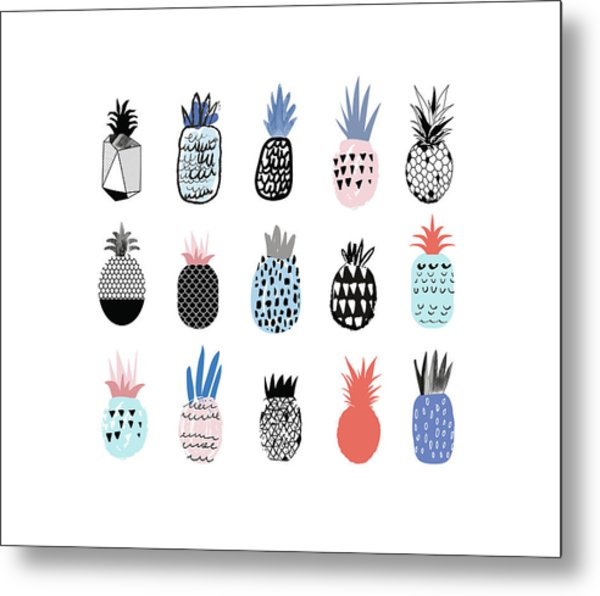 Collection Of Cute Pineapples With Metal Print by Loliputa