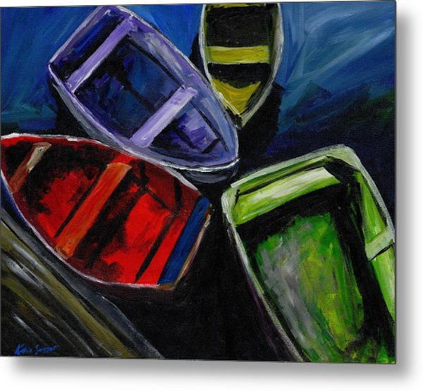 Colliding Skiffs Metal Print