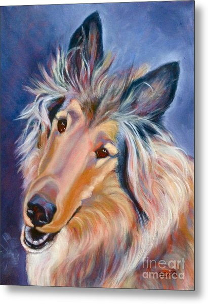 Collie Caper Metal Print