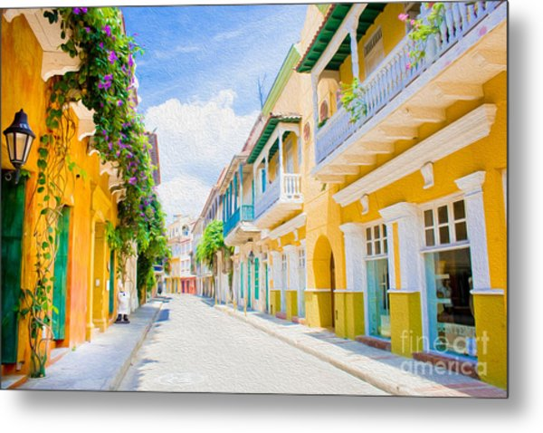 Colonial Street - Cartagena De Indias, Colombia Metal Print