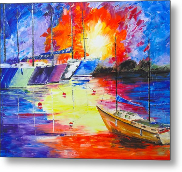 Metal Print featuring the painting Color Explosion by Kevin  Brown