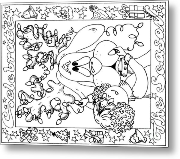 Color Me Card - Christmas Metal Print