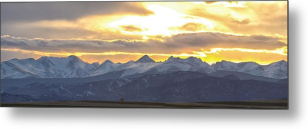 Colorado Front Range Panorama Gold Metal Print