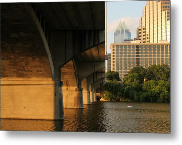 Colorado River Running Under Congress Street Bridge In Austin Texas Metal Print