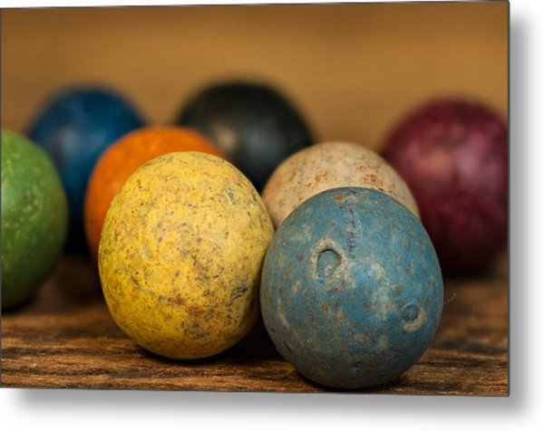 Colored Clay Marbles Metal Print