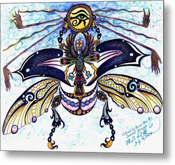 Colored Cultural Zoo B Sacred Scarab Metal Print