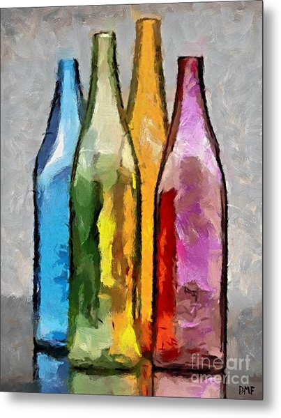 Colored Glass Bottles Metal Print