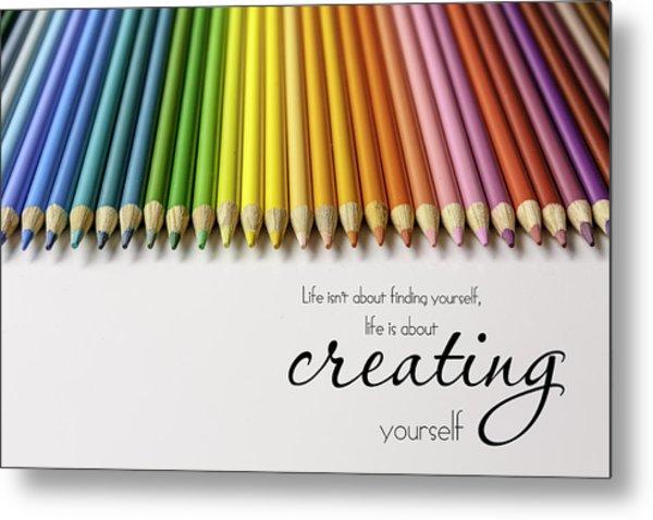 Colored Pencil Rainbow Metal Print