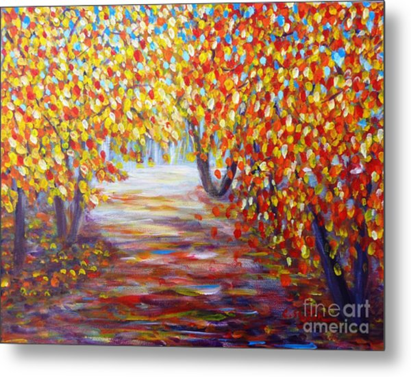 Metal Print featuring the painting Colorful Autumn by Cristina Stefan