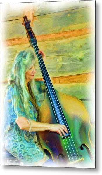 Colorful Bass Fiddle Metal Print