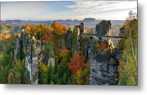 Colorful Bastei Bridge In The Saxon Switzerland Metal Print