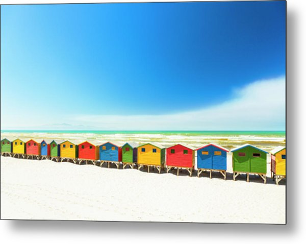 Colorful Beach Houses In Muizenberg Metal Print by Spooh