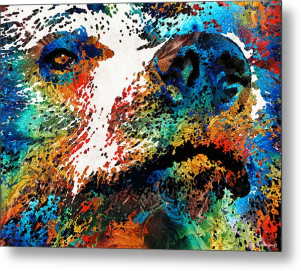 Colorful Bear Art - Bear Stare - By Sharon Cummings Metal Print