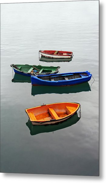 colorful boats on Santurtzi Metal Print