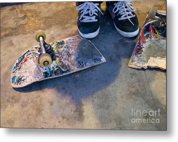 Colorful Busted Skateboard With Shoes  Metal Print