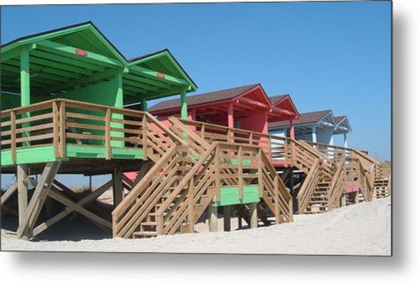 Colorful Cabanas Metal Print
