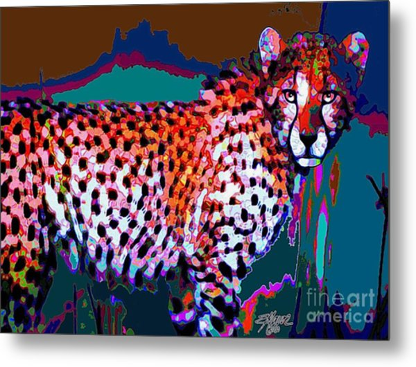 Metal Print featuring the painting Colorful Cheetah by Elinor Mavor