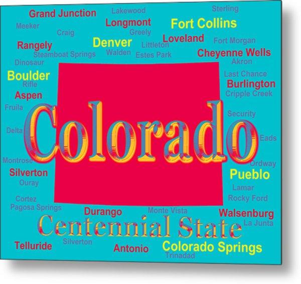 Colorful Colorado State Pride Map Silhouette  Metal Print