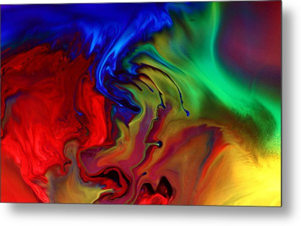 Colorful Contemporary Abstract Art Fusion  Metal Print