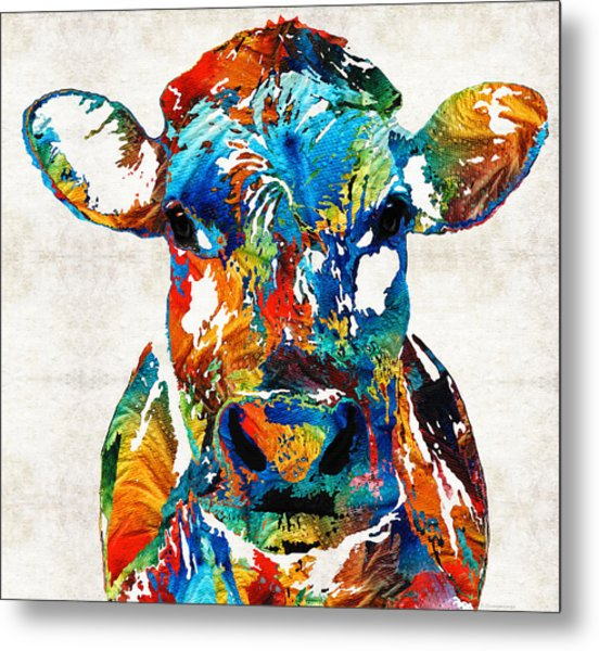 Colorful Cow Art - Mootown - By Sharon Cummings Metal Print
