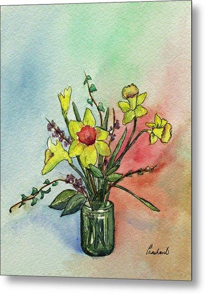 Colorful Daffodil Flowers In A Vase Metal Print by Prashant Shah