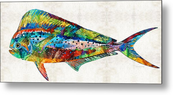 Colorful Dolphin Fish By Sharon Cummings Metal Print