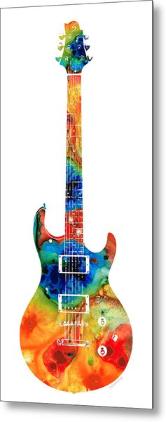 Colorful Electric Guitar 2 - Abstract Art By Sharon Cummings Metal Print