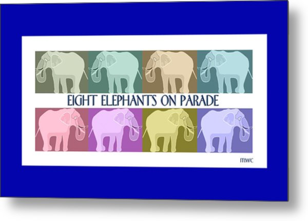 Pastel Elephants On Parade Metal Print