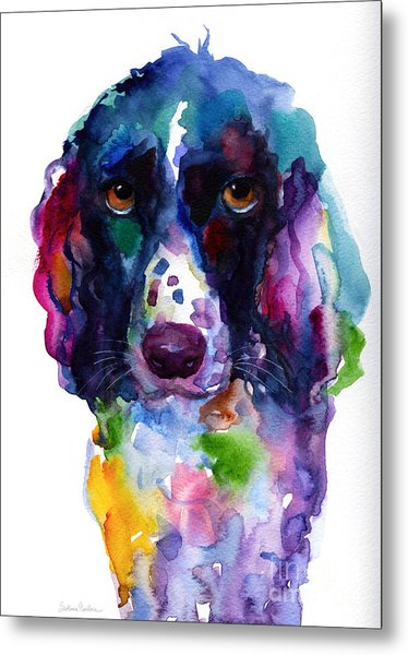 Colorful English Springer Setter Spaniel Dog Portrait Art Metal Print