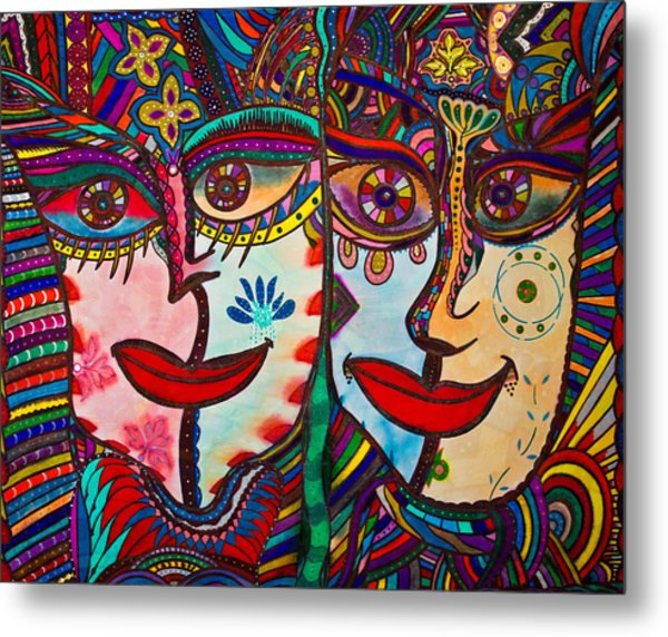Colorful Faces Gazing - Ink Abstract Faces Metal Print