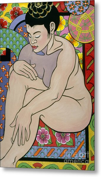 colorful figure painting - In My House Metal Print