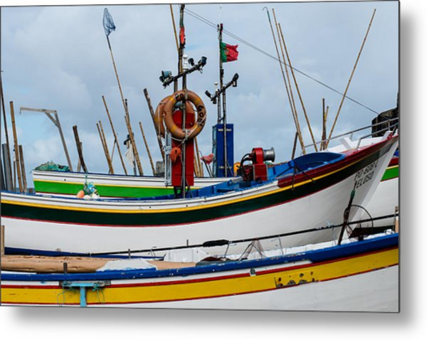 colorful fishing boat with Portuguese flag  Metal Print