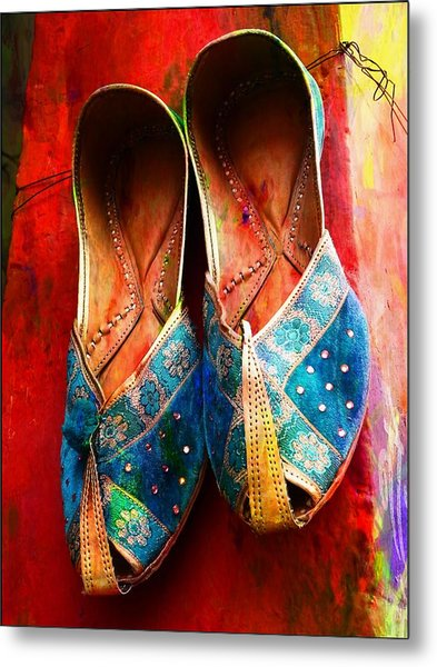 Colorful Footwear Juttis Sales Jaipur Rajasthan India Metal Print