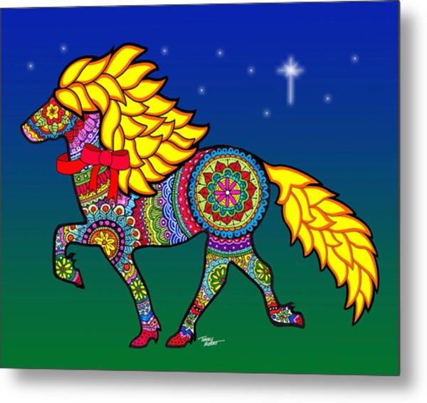 Colorful Horse Tangle Design Metal Print