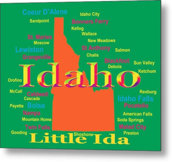 Colorful Idaho State Pride Map Silhouette  Metal Print