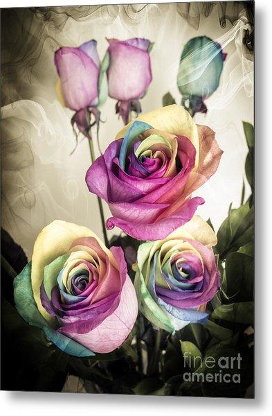 Colorful Kaleidoscope  Roses Metal Print by Linda Matlow