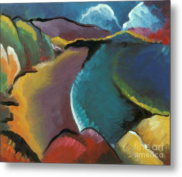 colorful abstract oil painting - Rocky Beach Metal Print