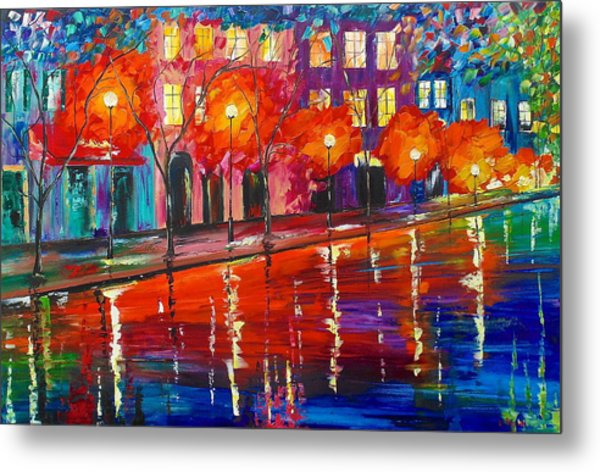Metal Print featuring the painting Colorful Night by Kevin  Brown
