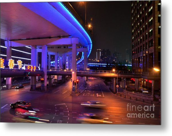 Colorful Night Traffic Scene In Shanghai China Metal Print