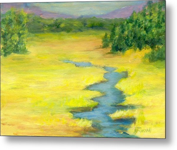 Colorful Original Landscape Painting Mountain Meadow Metal Print