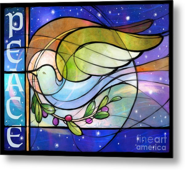 Colorful Peace Dove Metal Print
